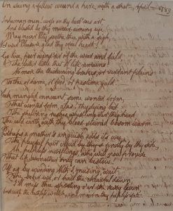 manuscript of the poem, On seeing a fellow wound a hare with a shot, April 1789